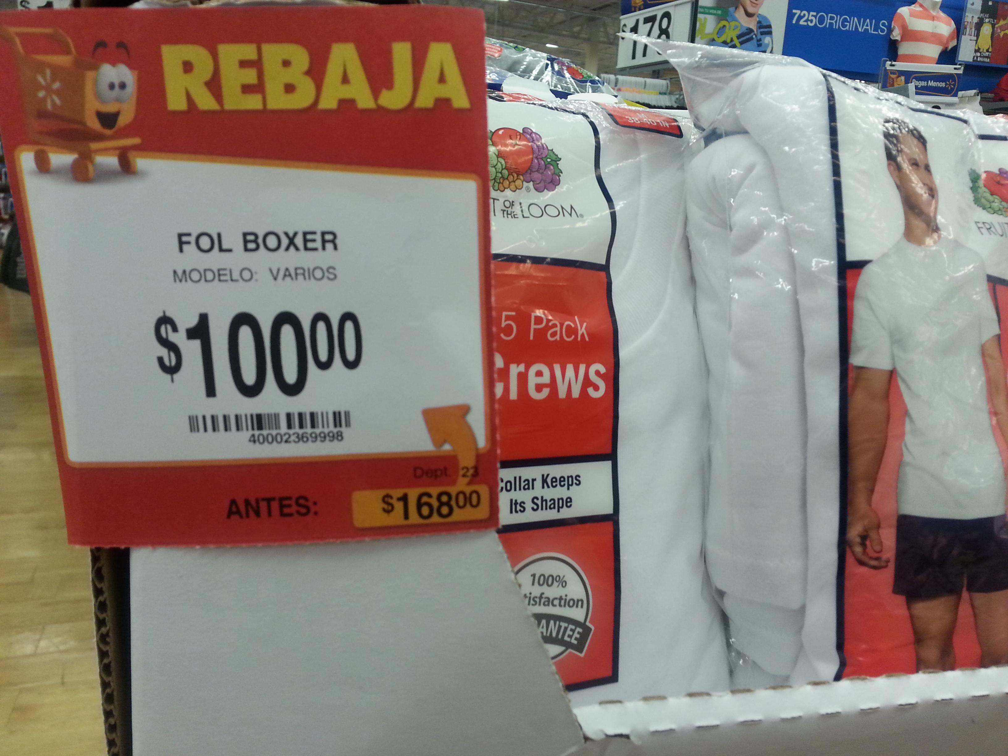 Walmart: paquete de 5 bóxers a $100