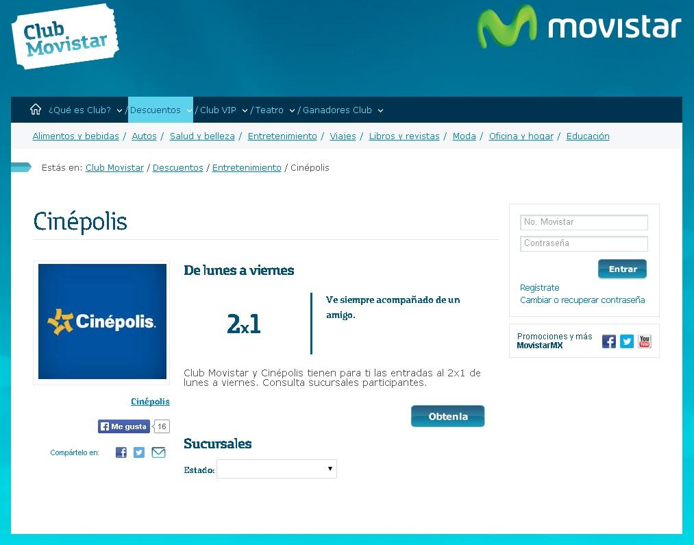 2x1 en Cinépolis de lunes a viernes para clientes Movistar