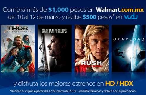 Walmart: $500 de crédito para Vudu con compra mínima de $1,000
