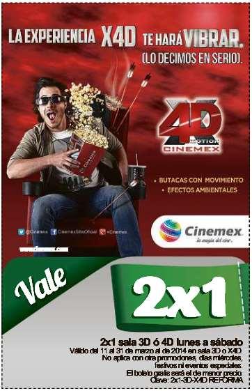 Cinemex: cupón de 2x1 para salas 3D y X4D