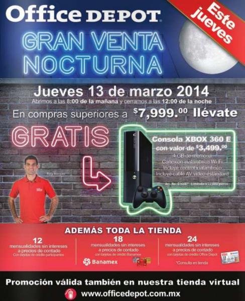 Venta Nocturna Office Depot marzo 13: Xbox 360 gratis con compra mínima (actualizado)