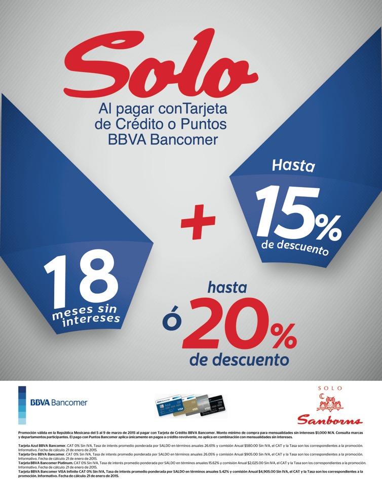 Sanborns Descuento 15 y 20 % con Bancomer