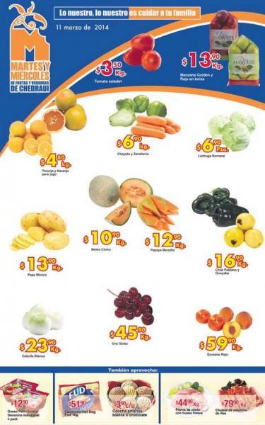 Ofertas de frutas y verduras en Chedraui marzo 11 y 12: manzana $13.90 el kilo y más