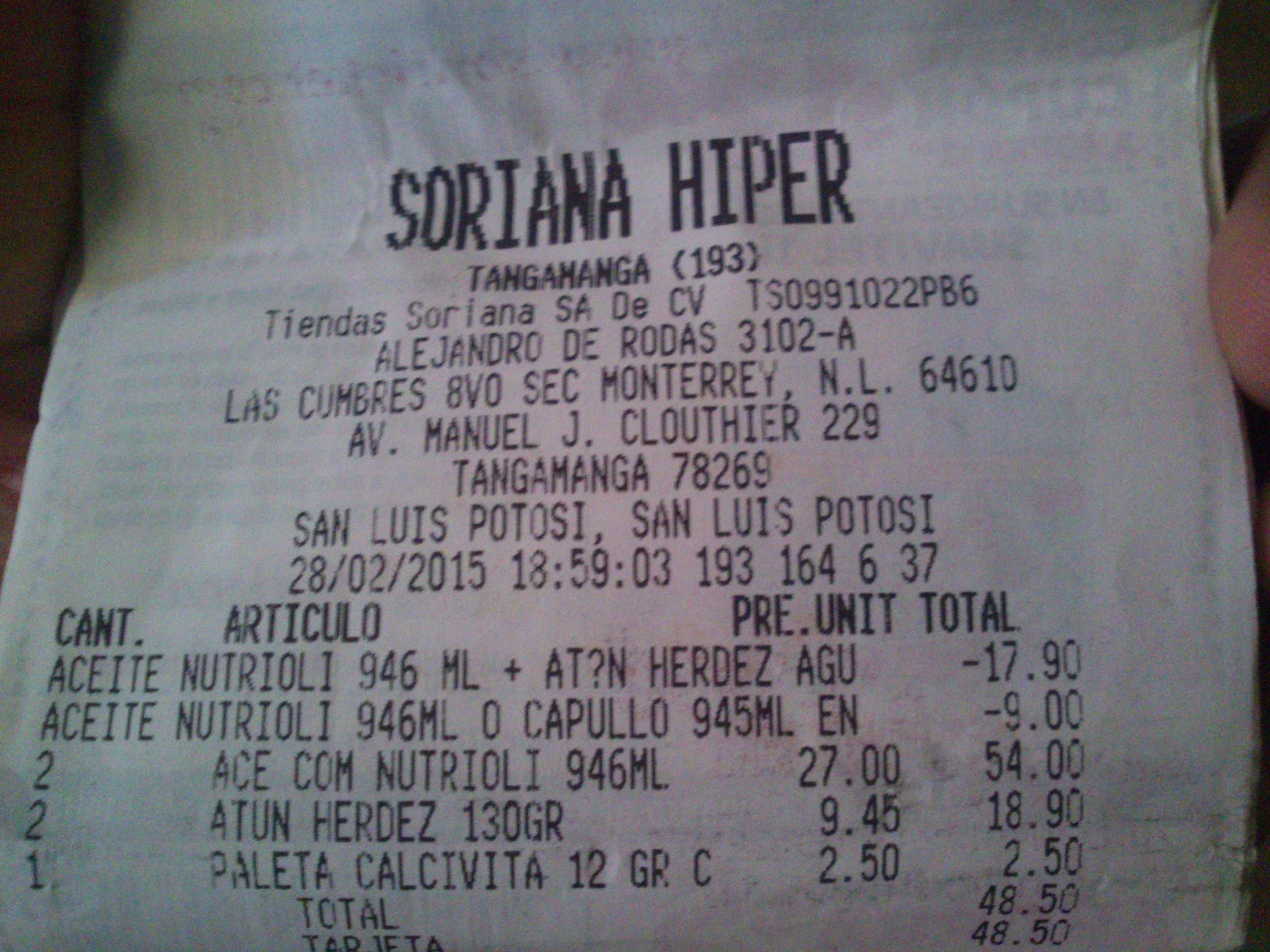Soriana Hiper :::TAMBIÉN ESTE FIN DE SEMANA::: Dos aceites Nutrioli 946ml y dos latas atún Herdez 130gr por $45