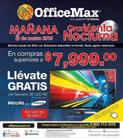 """Venta nocturna OfficeMax 3 de marzo: pantalla LED 32"""" gratis con compra mínima"""
