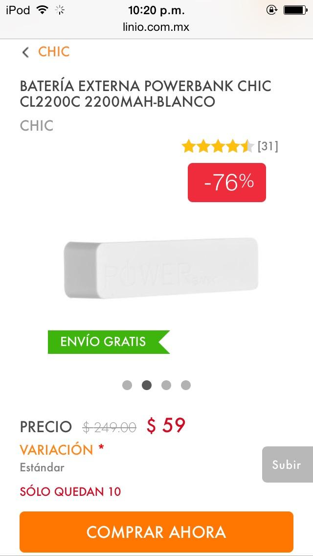Linio: POWER BANK $59 ENVIÓ GRATIS