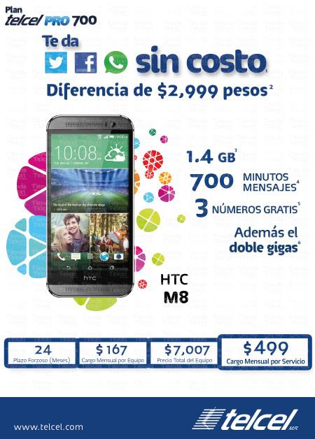 Telcel: HTC ONE M8 PLAN TELCEL PRO 700 a $2999