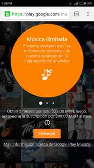 Google Play Music: 3 meses por $33