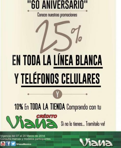 Aniversario Viana: 25% de descuento en línea blanca y teléfonos celulares
