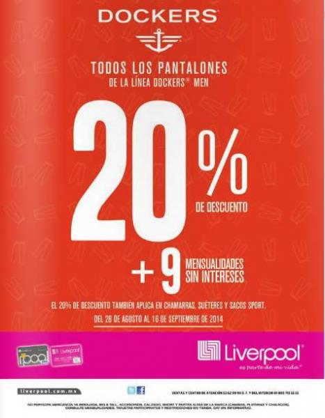 Liverpool y Sears: 20% de descuento en Dockers