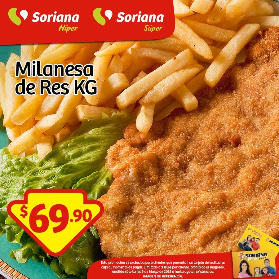 Soriana: Milanesa de res 69.90 kg