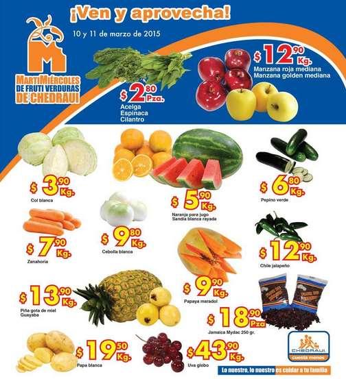 Ofertas de frutas y verduras en Chedraui 10 y 11 de marzo