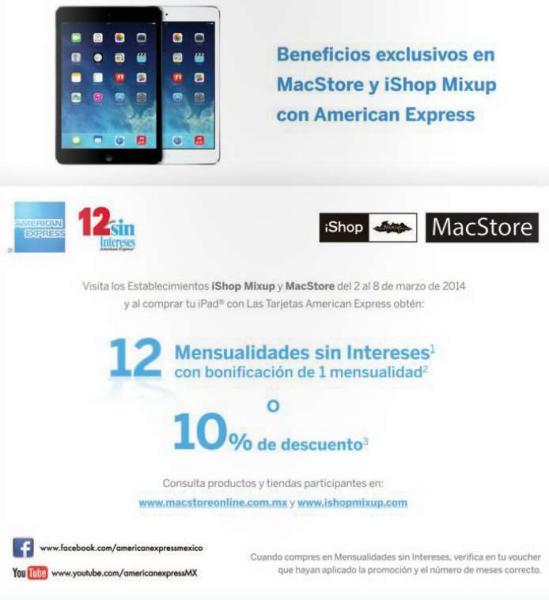 iShop Mixup y MacStore: iPad con 10% de descuento o 12 MSI y 1 mes de bonificación con AMEX