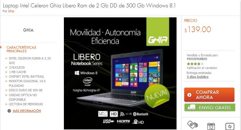 Linio: Laptop Ghia Libero $139