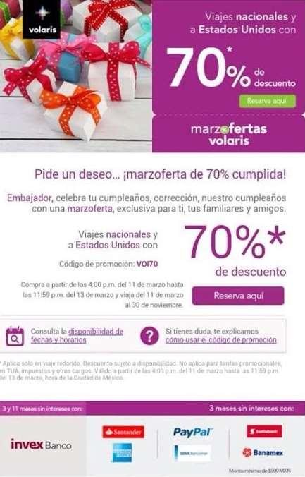 Promoción Aniversario Volaris 2015 (70% descuento)