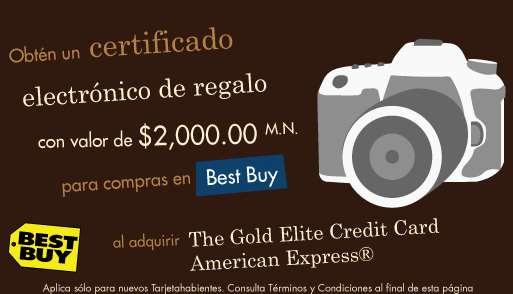 Certificado de $2,000 para Best Buy sacando tarjeta Amarican Express