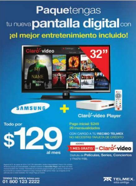 """Telmex: pantalla LED Smasung 32"""" a 29 pagos de $109 + pago inicial de $249"""