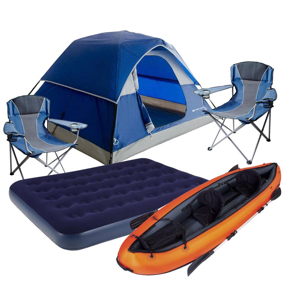 Walmart: Paquete con Kayak, tienda, sillas y colchón inflable $2,990