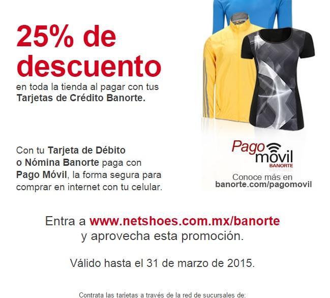 NETSHOES: 25 % de descuento en toda la tienda pagando con Tarjetas Banorte.