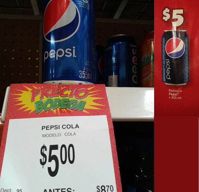 Bodega Aurrerá: Pepsi en lata de 355 ml a $5