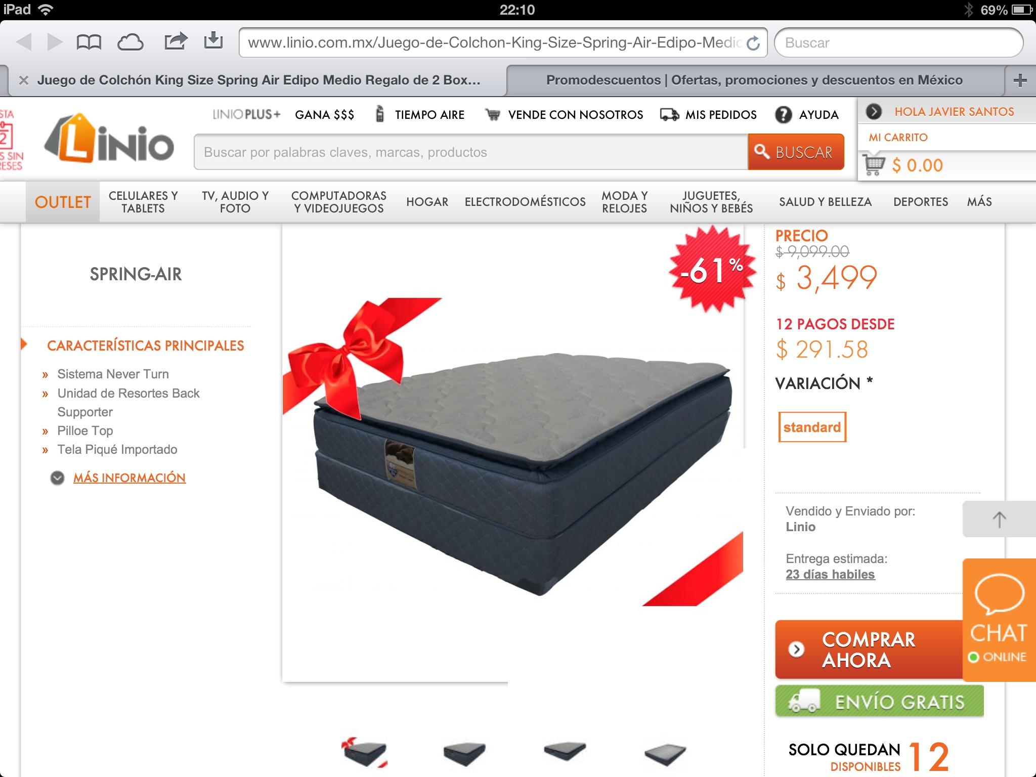 LINIO Colchón Spring Air king size $3,499 con box y envió graits
