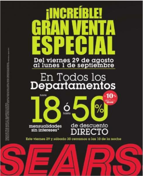 Sears: venta especial del 29 de agosto al 1 de septiembre