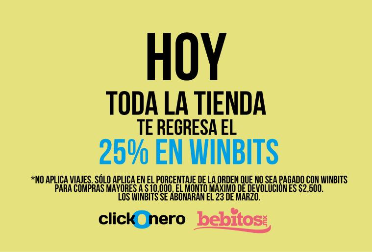 ClickOnero / Bebitos: Hoy TODA la tienda te regresa 25% en Winbits