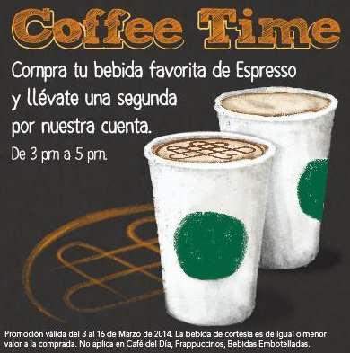 Starbucks Coffee Hour: 2x1 en bebidas a base de espresso (actualizado)