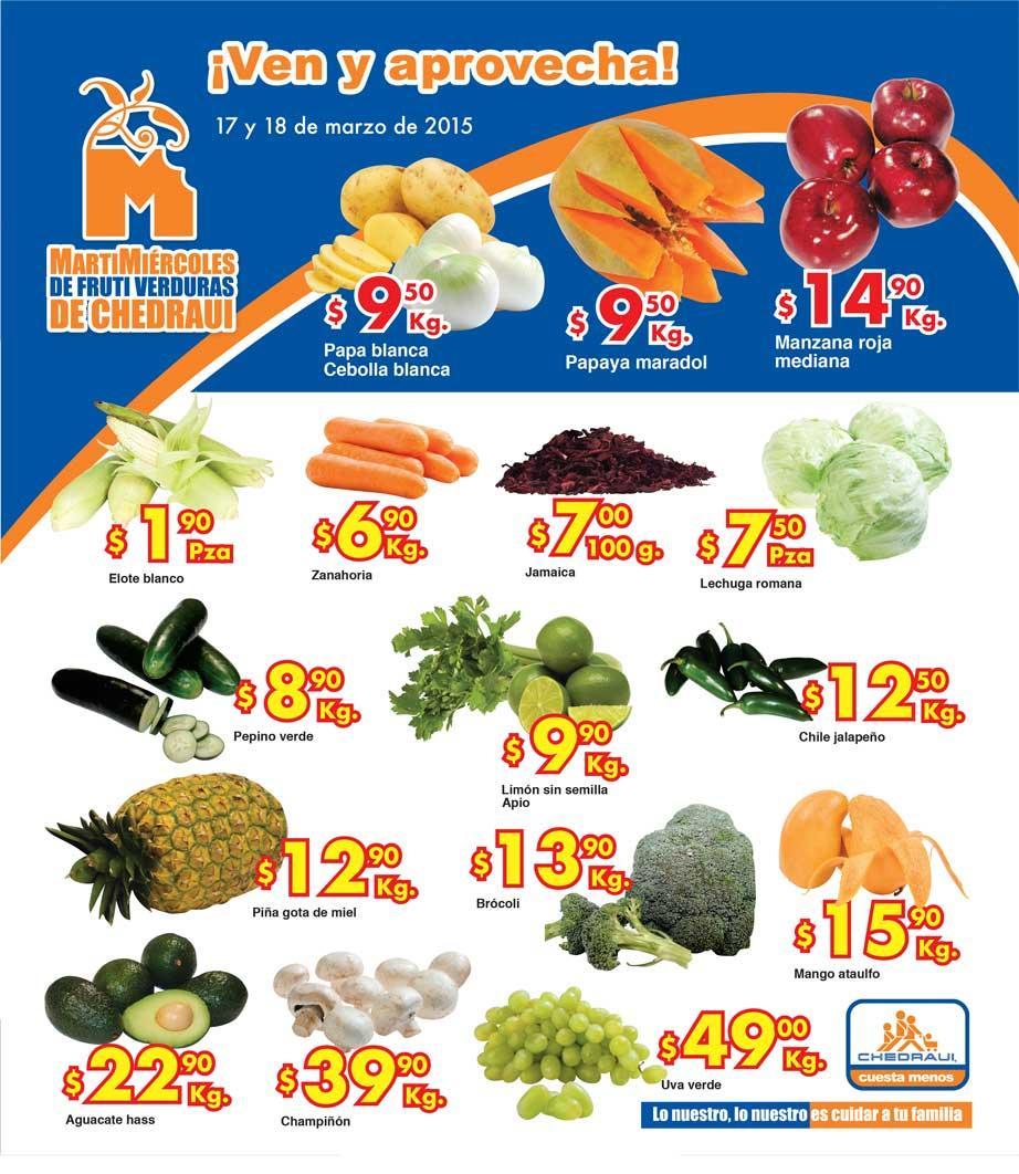 Ofertas de frutas y verduras en Chedraui 17 y 18 de marzo