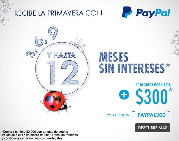 Linio: $300.00 de reembolso en compras mínimas de $2,000.00 pagando con PayPal