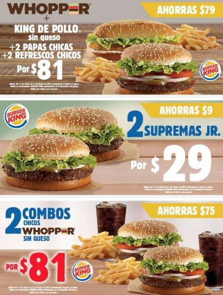Cupones Burger King: 2 combos Whopper $81, Whopper Jr gratis comprando combo y más