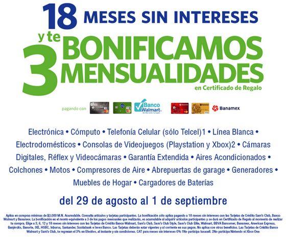 Sam's Club: 18 meses sin intereses y 3 de bonificación del 29 de agosto al 1 de septiembre