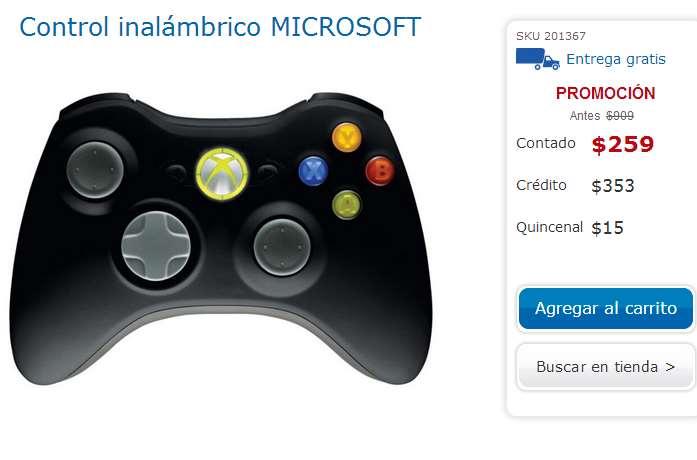 Coppel: control inalámbrico Xbox 360 $259