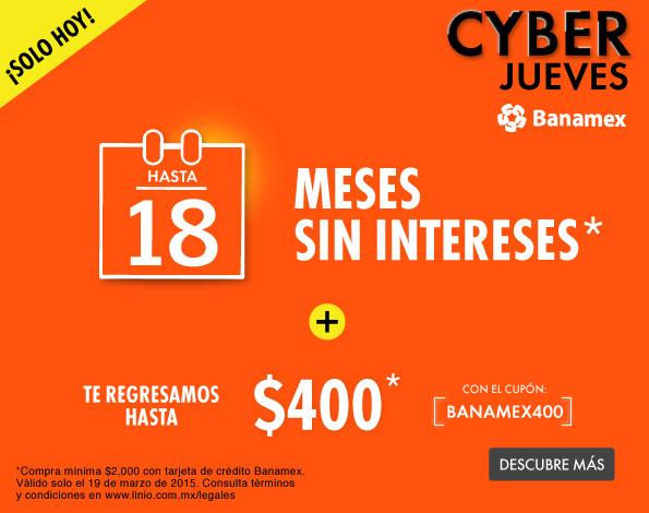 Linio: Cyber Jueves Banamex (Cashback de $400 y meses sin intereses)