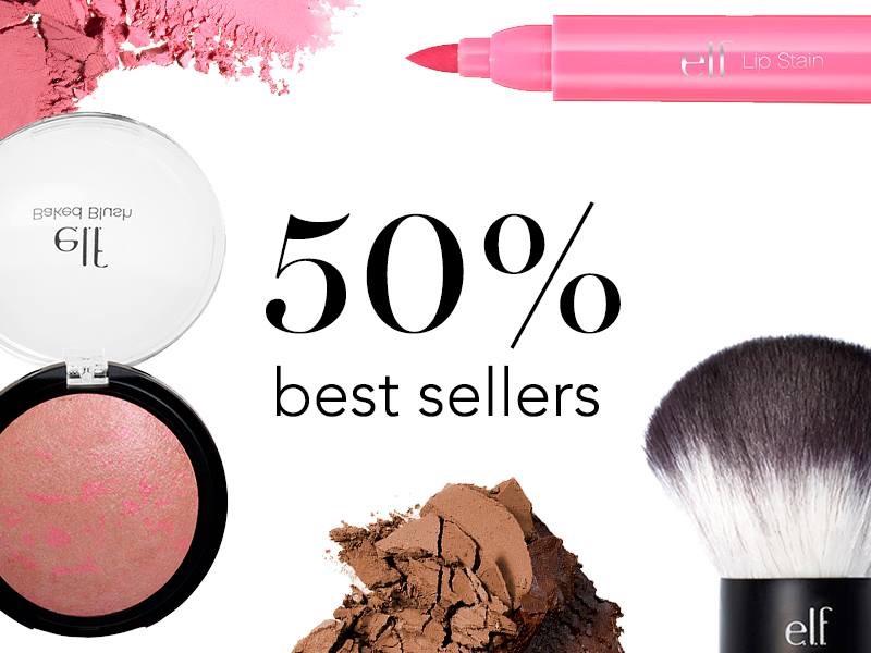 Cupón 50% de descuento en productos más vendidos en e.l.f.