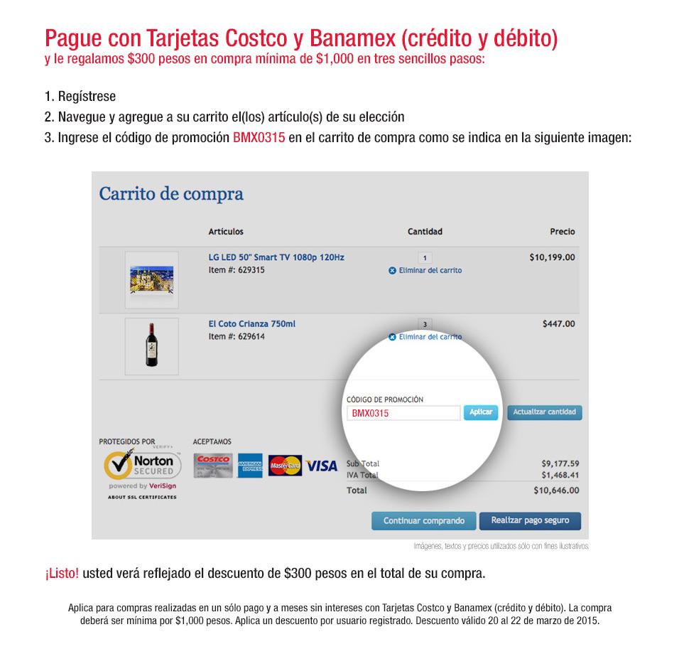 COSTCO 18 MESES CON TARJETAS BANAMEX Y CUPON DE 300