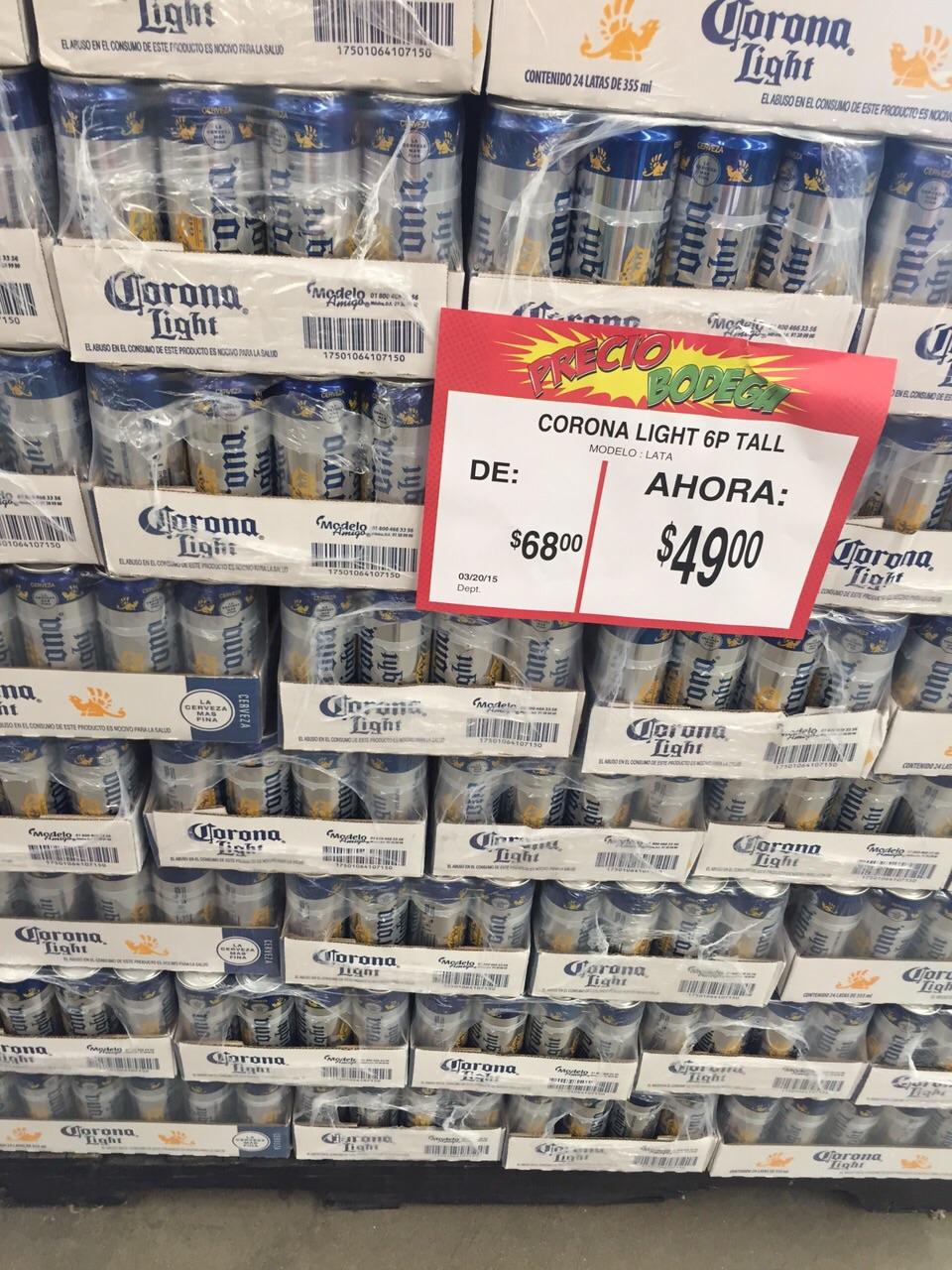 Bodega Aurrerá: Six Corona Light $49