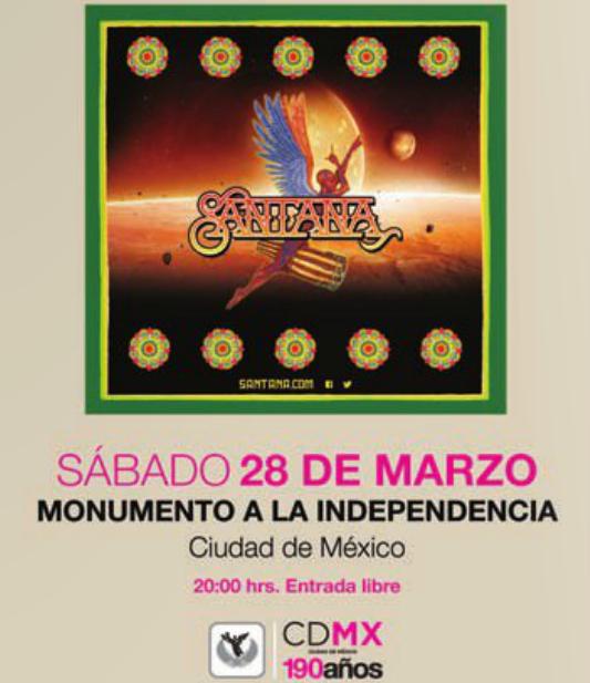 Concierto gratis de Santana este sábado en el Ángel (DF)