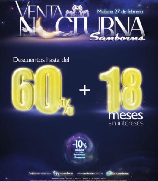 Venta nocturna Sanborns febrero 27 y 28 (actualizado)