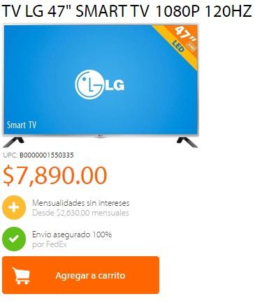 "Walmart: TV LG 47"" SMART TV 1080P $7890"