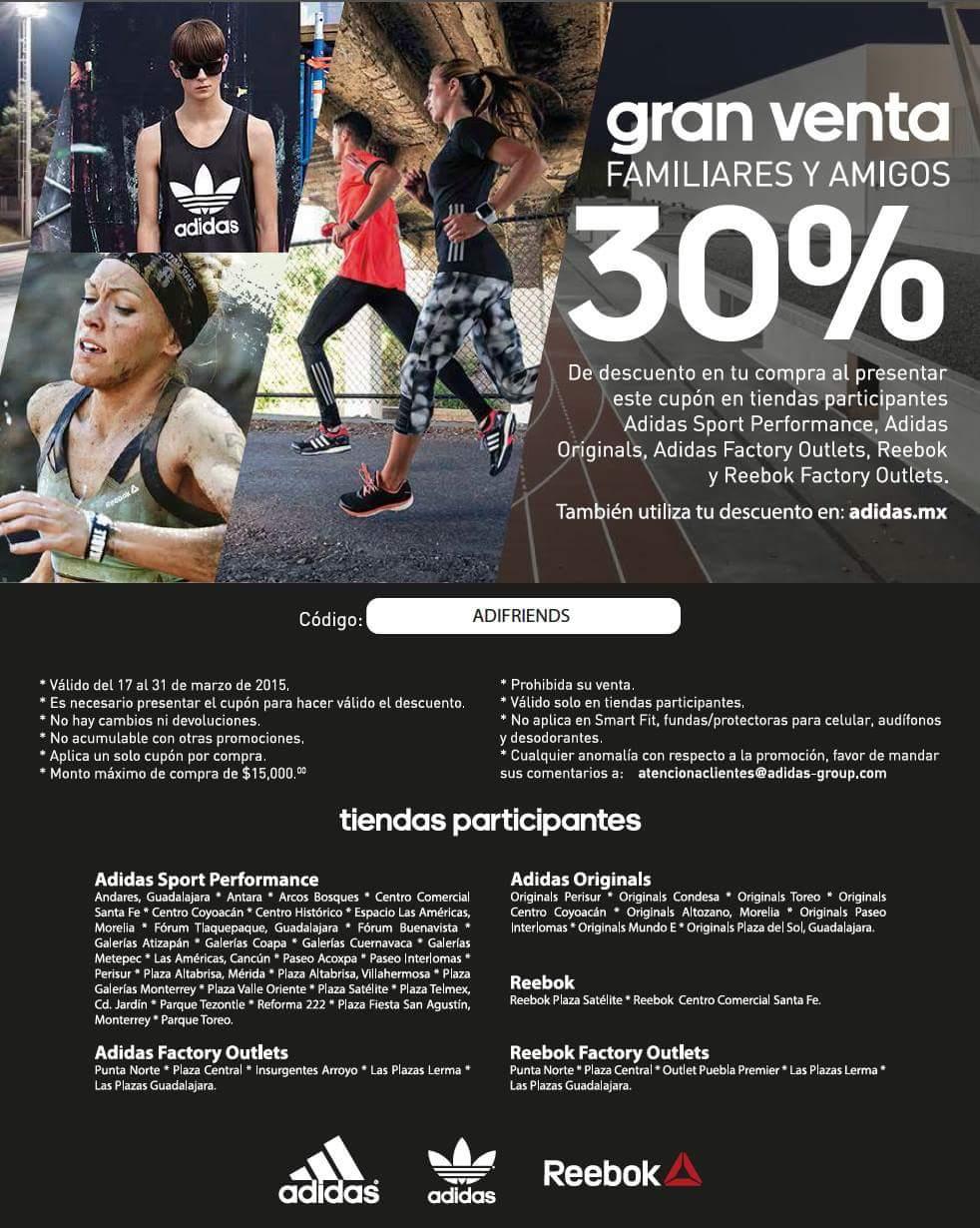 30% de descuento Reebok y Adidas en tienda y por Internet