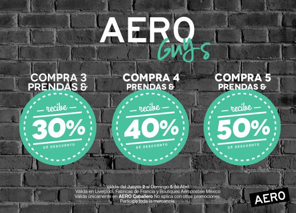 Aéropostale: descuento escalonado (50% comprando 5 artículos)