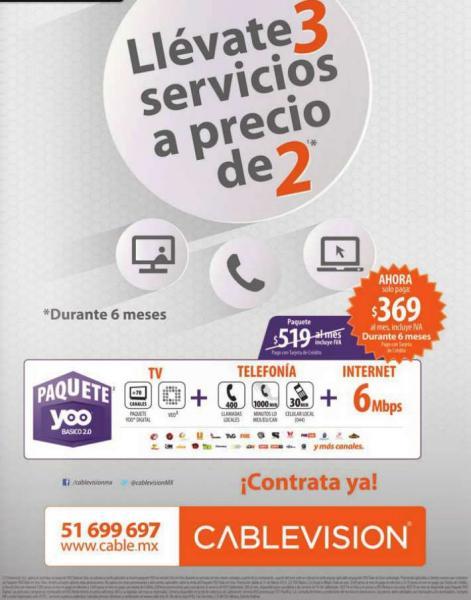 Cablevisión: 3x2 en paquetes YOO (internet, teléfono y cable desde $369/mes por 6 meses)