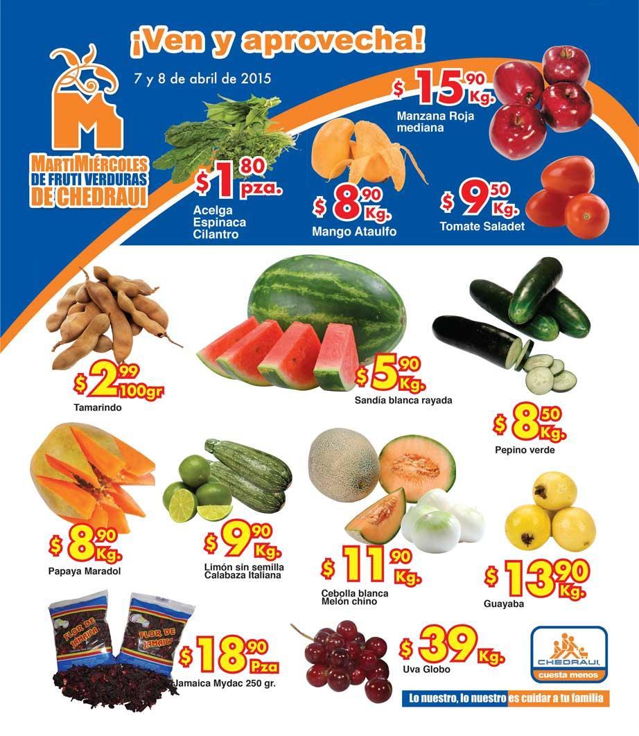Ofertas de frutas y verduras en Chedraui 7 y 8 de abril