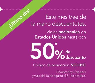 VOLARIS: Viajes nacionales y a Estados Unidos hasta con  50% de descuento.