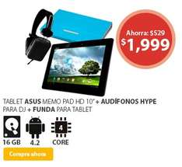 Walmart: Tablet Asus MeMO Pad HD 10 + FUNDA y AUDIFONOS