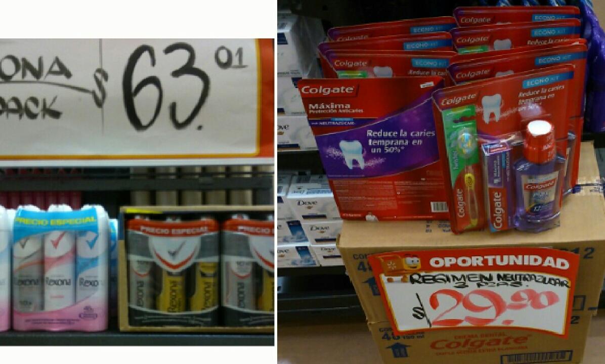 Walmart: Régimen colgate neutraazúcar 3 Pack $29 y paquete 3 desodorantes Rexona $63