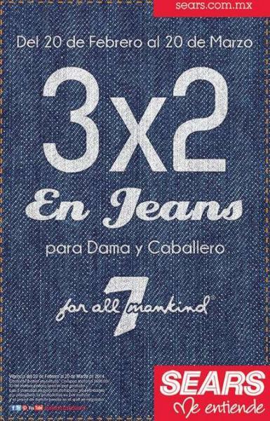Sears: 3x2 en jeans Seven