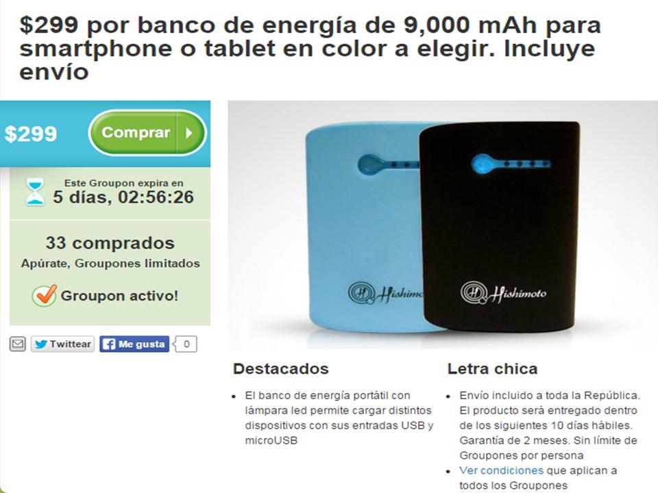 GROUPON: $299 por banco de energía de 9,000 mAh para smartphone o tablet en color a elegir. Incluye envío