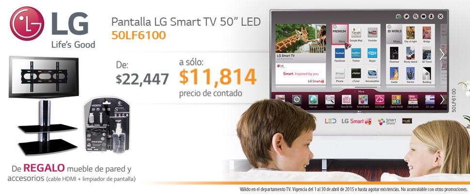 """Sears: LG smart tv 50"""" más mueble y accesorios"""